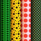 Seamless patterns, polka dots set. Vector Eps 10 illustration Royalty Free Stock Photo
