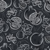 Seamless Patterns  with  pomegranate, fig and blueberry on grung Royalty Free Stock Photos