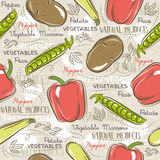 Seamless Patterns with potato, pepper, carrot. Royalty Free Stock Image
