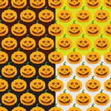 Seamless patterns with pumpkins for Halloween. Set of seamless patterns with pumpkins for Halloween Stock Images