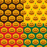 Seamless patterns with pumpkins for Halloween. Set of seamless patterns with pumpkins for Halloween Royalty Free Stock Photography