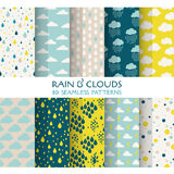 10 Seamless Patterns - Rain and Clouds. Texture for wallpaper, background, texture, scrapbook - in vector Royalty Free Stock Image