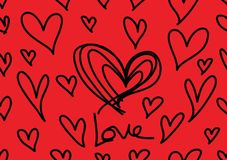 Seamless patterns with red hearts, Love background, heart shape vector, valentines day, texture, cloth, wedding wallpaper royalty free illustration
