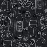 Seamless patterns with red wine set, cask, barrel, wineglass, grape and cheese on black chalkboard. Ideal for printing onto fabric. And paper or scrap booking royalty free illustration