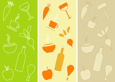 Seamless Patterns: Restaurant Theme. Three different seamless patterns with food and drinks Stock Photo