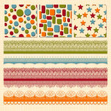Seamless Patterns and  Ribbons Royalty Free Stock Image