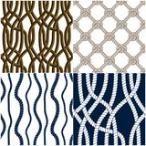 Seamless Patterns Rope Woven Vectors Set, Abstract Illustrative Stock Image
