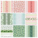 Seamless patterns of the roses and leaves, set Stock Photography