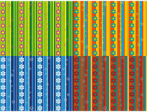 Seamless patterns with rows of flowers Stock Images