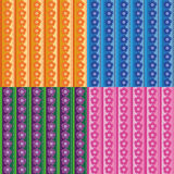 Seamless patterns with rows of flowers Royalty Free Stock Photography