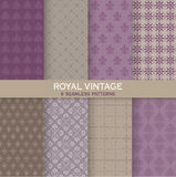 8 Seamless Patterns. Royal Vintage Set - Texture for wallpaper, background, texture, scrapbook - in vector royalty free illustration