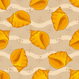 Seamless patterns with seashells Royalty Free Stock Photos