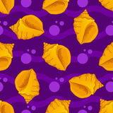 Seamless patterns with seashells Royalty Free Stock Image