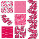 Seamless patterns set. Set of 6 elegant seamless patterns with decorative cherry blossom, dots, curls and abstract flowers, design elements Stock Photo