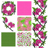 Seamless patterns set. Set of 6 elegant seamless patterns with decorative cherry blossom, dots, curls and abstract flowers, design elements Stock Image