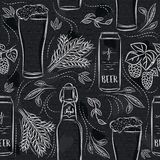 Seamless patterns with set of beer bottle, mug, barley and hop on black chalkboard. Ideal for printing onto fabric and paper or. Scrap booking royalty free illustration
