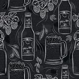 Seamless patterns with set of beer bottle, mug and hop on black chalkboard. Ideal for printing onto fabric and paper or scrap. Booking royalty free illustration