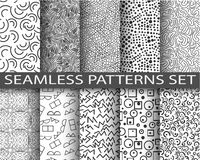 Seamless patterns set. Black and white monochrome abstract mosaic textures. Swatches memphis seamless patterns. Collection of ten backgrounds. Retro, old fashion stock illustration