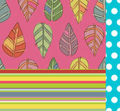 Seamless patterns set. Bright seamless textures set with leaves, dots and stripes vector illustration
