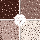 Seamless patterns set with coffee beans Royalty Free Stock Photo