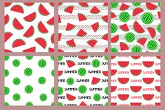 Seamless patterns set with colorful watermelons stock images