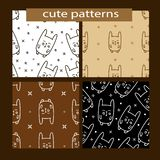 Seamless patterns set with cute cartoon rabbit. vector illustration