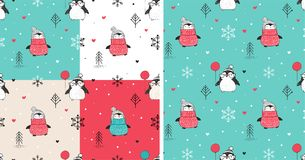 Seamless patterns set with hand drawn penguins stock illustration