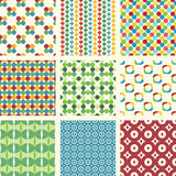 9 seamless patterns set Stock Photo