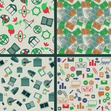 Seamless patterns. Set with education and business symbols Royalty Free Stock Photo