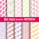 Seamless patterns set. Set of 10 elegant seamless patterns with decorative vintage fruits, design elements. Abstract food backgrounds. Patterns for invitations Stock Images