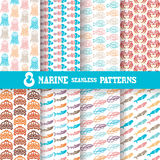 Seamless patterns. Set of 8 elegant seamless patterns with fishes, crabs, jellyfishes, turtles, sharks and whales, design elements. Beautiful marine backgrounds Stock Image