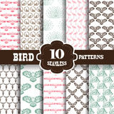 Seamless patterns set. Set of 10 elegant seamless patterns with hand drawn decorative birds, design elements. Decorative patterns for invitations, greeting cards Stock Photos