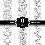 Seamless patterns set. Set of 6 elegant seamless patterns with hand drawn decorative flowers, design elements. Beautiful floral backgrounds. Floral patterns for Royalty Free Stock Images