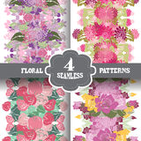 Seamless patterns set. Elegant seamless patterns with hand drawn decorative flowers, design elements. Floral pattern for wedding invitations, greeting cards Royalty Free Stock Image