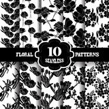 Seamless patterns set. Set of 10 elegant seamless patterns with hand drawn decorative flowers, design elements. Floral patterns for wedding invitations, greeting Stock Images
