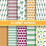 Seamless patterns set. Elegant seamless patterns with hand drawn decorative onions, design elements. Can be used for food invitations, greeting cards Royalty Free Stock Photography