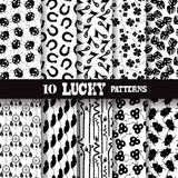 Seamless patterns. Set of 10 elegant seamless patterns with symbols of luck, clovers, dream catchers, ladybugs, scarabs, horseshoes, bamboos, design elements Royalty Free Stock Photo