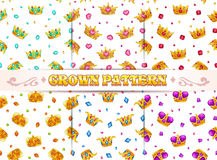 Seamless patterns set. Fashion style seamless patterns set. Vector textures with cartoon golden crowns and precious stones on white background vector illustration