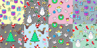 Seamless patterns set in flat style. Xmas elements. Set of seamless patterns with snowman, socks, speech bubble, mistletoe, snowflakes, glasses, gift boxes Royalty Free Stock Photos