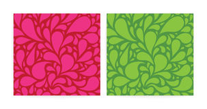 Seamless patterns set with funny drops. pink and green. Stock Photo