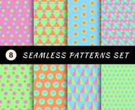 Seamless patterns set. Geometric textures Stock Photography