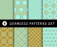 Seamless patterns set. Geometric textures Stock Photo