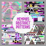 Seamless Patterns Set Glitch Design. Cyberpunk Digital Backgrounds with Geometric Gradient Elements. Abstract Composition. For Fabric Fashion 80s-90s, Posters Stock Photo