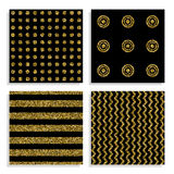 Seamless patterns set with gold dots. Glittering gold dot lines patterns Stock Photos
