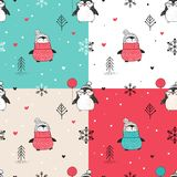 Seamless patterns set with hand drawn penguins royalty free illustration