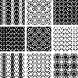 Seamless patterns set with heart-shaped elements. Royalty Free Stock Images