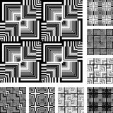 Seamless patterns set in op art design. Royalty Free Stock Images