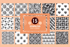 Seamless patterns set. 15 painted abstract seamless patterns, design elements. Can be used for invitations, greeting cards, scrapbooking, print, gift wrap Stock Photo