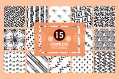 Seamless patterns set. 15 painted abstract seamless patterns, design elements. Can be used for invitations, greeting cards, scrapbooking, print, gift wrap Stock Photography