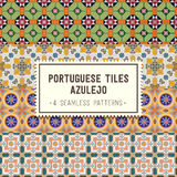 Seamless patterns set with Portuguese tiles. Azulejo Royalty Free Stock Photos